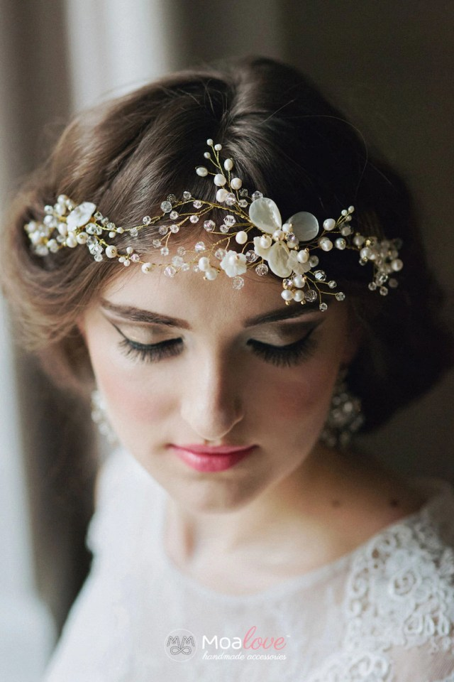 bridal headpiece | wedding hair accessories | beaded | gold bridal comb | pearl |hair adornment | hair jewelry | floral | shell | style 621