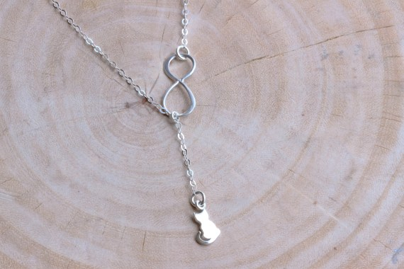 Tiny Sterling Silver Cat with Infinity Necklace from Rainbow Earring 1 on Etsy
