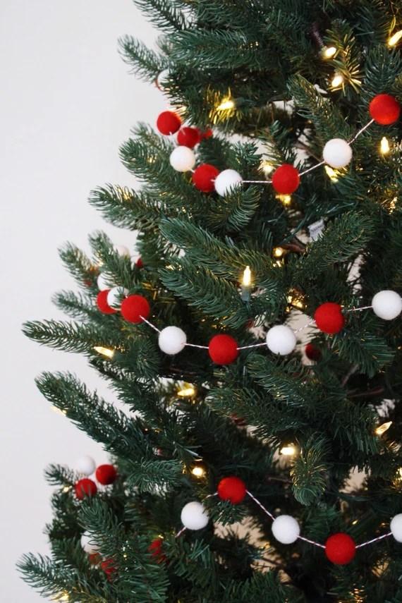 Christmas Tree Garland Christmas Felt Ball Garland Holiday Etsy