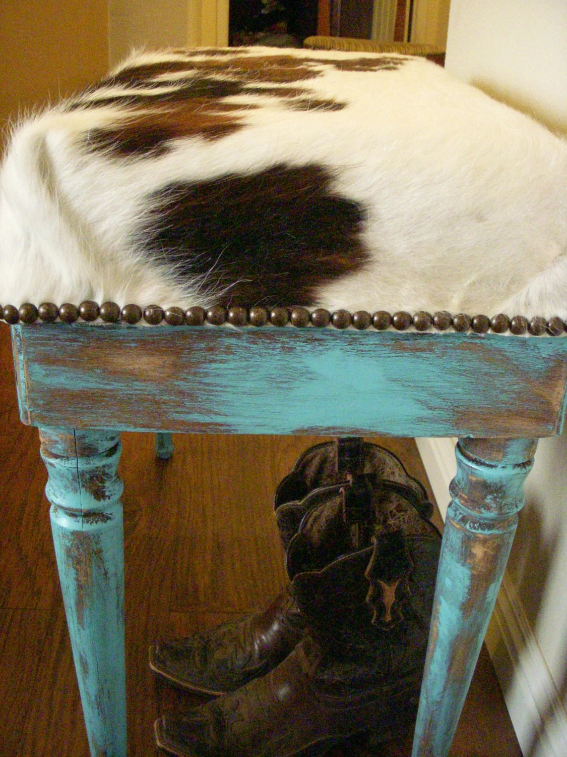 Made To Order Cowgirl Chic Cowhide And Turquoise Piano