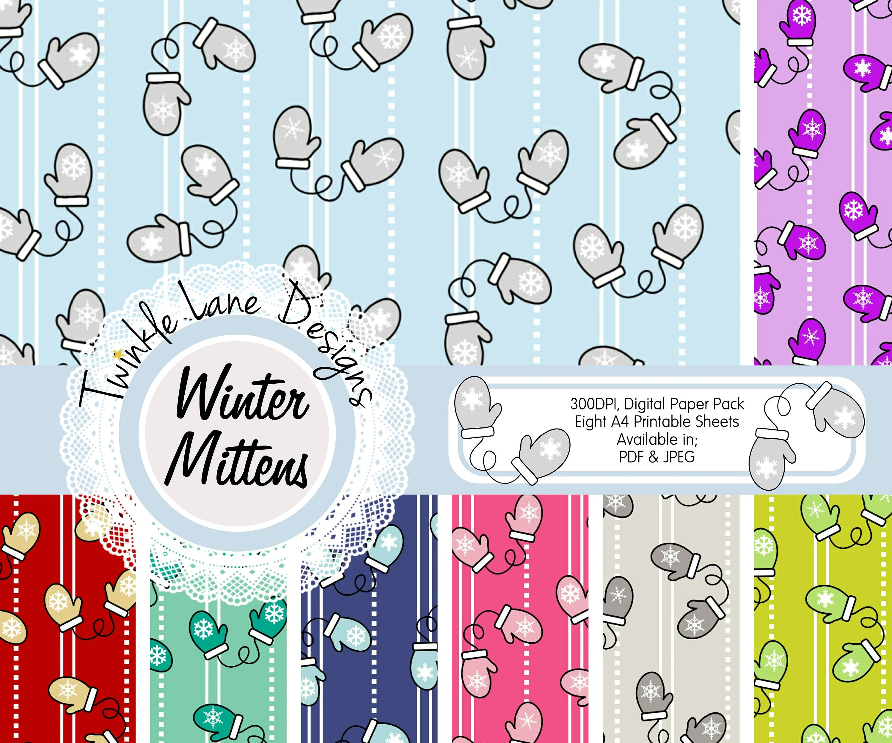 Winter Gloves Festive Paper Pack Xmas Digital Paper