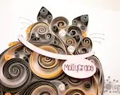 Made-to-Order | Quilled Scrollwork Fat Cat 5x7 | Customizable