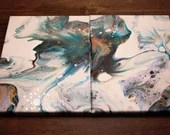 Nautical Nebula Diptych Fluid Acrylic Painting