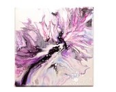 Abstract Purple Celestial Flower Fluid Acrylic Pour Painting