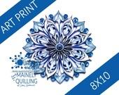 Art Print | Mandala in Blues | Original Quilled Paper Art