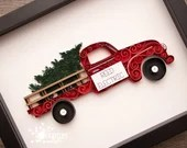 Holiday Themed Antique Red Truck | Personalized and Customizable |  Made-to-Order