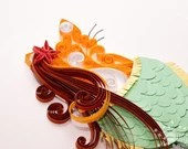 Quilled Mermaid Scrollwork Cat | Ready-to-Ship