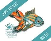 8x10 Art Print | Paper Quilled Pea-Fish Original Artwork