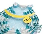 Blue & White Zig-Zag Fat Cat | Customizable Collar | 5x7