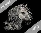"8x10 Art Print | ""Stallion"" Original Quilled Paper Artwork"