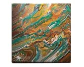 Abstract Striated Jupiter Alive Fluid Acrylic Pour Painting
