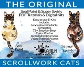 E-Kit 2-Pack   Original Seal Point PLUS Super Swirly Paper Quilled Scrollwork Cats Quilling Kit