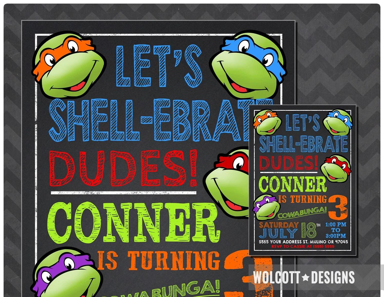 ninja turtles invitation tmnt invite
