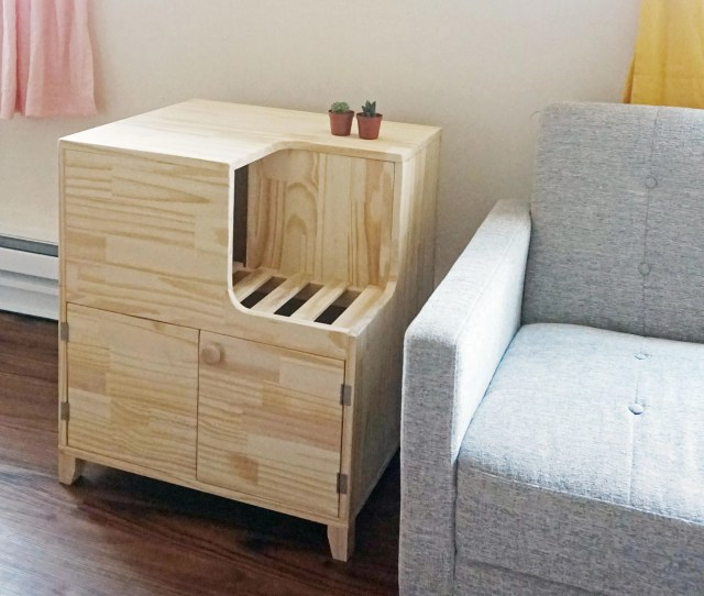 Other Finishes Available Unique Jumbo Modern Wooden Cat Litter Cabinet Fully Assembled Easy Cleaning