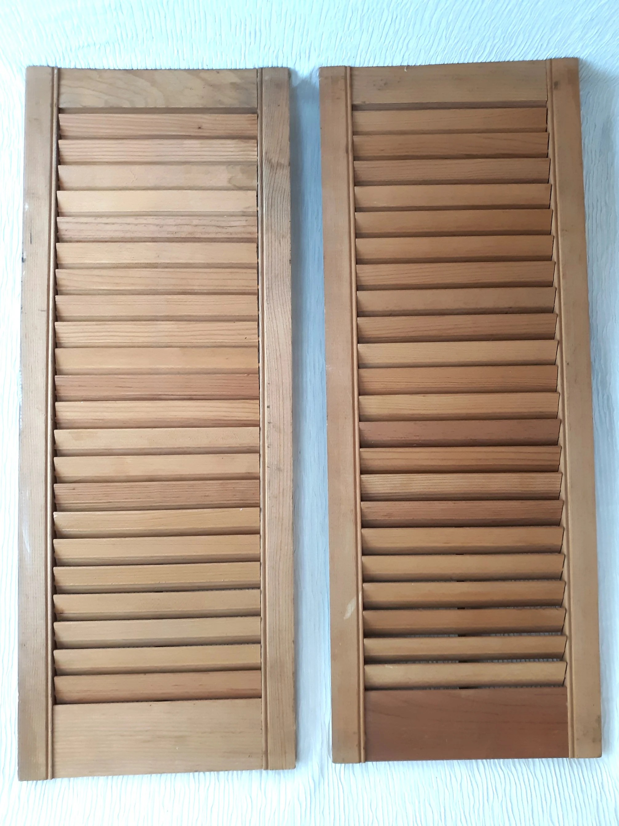 Vintage Pair Wooden Interior Plantation Style Louvered Window Shutters Natural Wood Color Kitchen Cabinet Doors Rustic Decor Nos