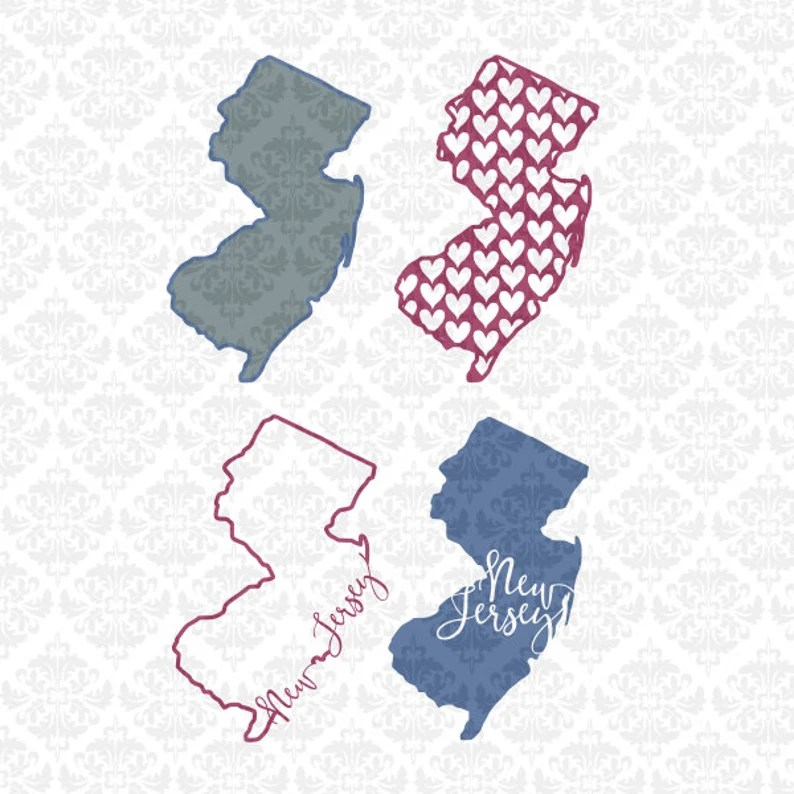 Download New Jersey State Chevron Home Outline Love Hearts SVG DXF ...
