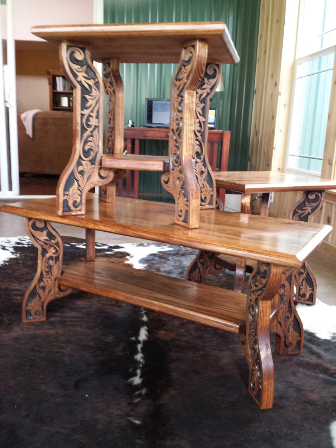 end tables carved wood features