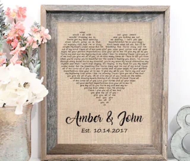 Wedding Gift One Year Anniversary Gift First Dance Love Song Lyrics Personalized Wedding St Anniversary Gifts Christmas Wife Gift Idea