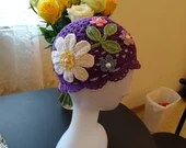 Girls Handmade Floral Hat purple 100% Cotton