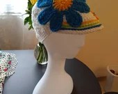Handmade Woman's Floral Baseball Hat white blue green