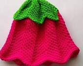 Handmade Tulip Hat 0-3 months Pink and Green