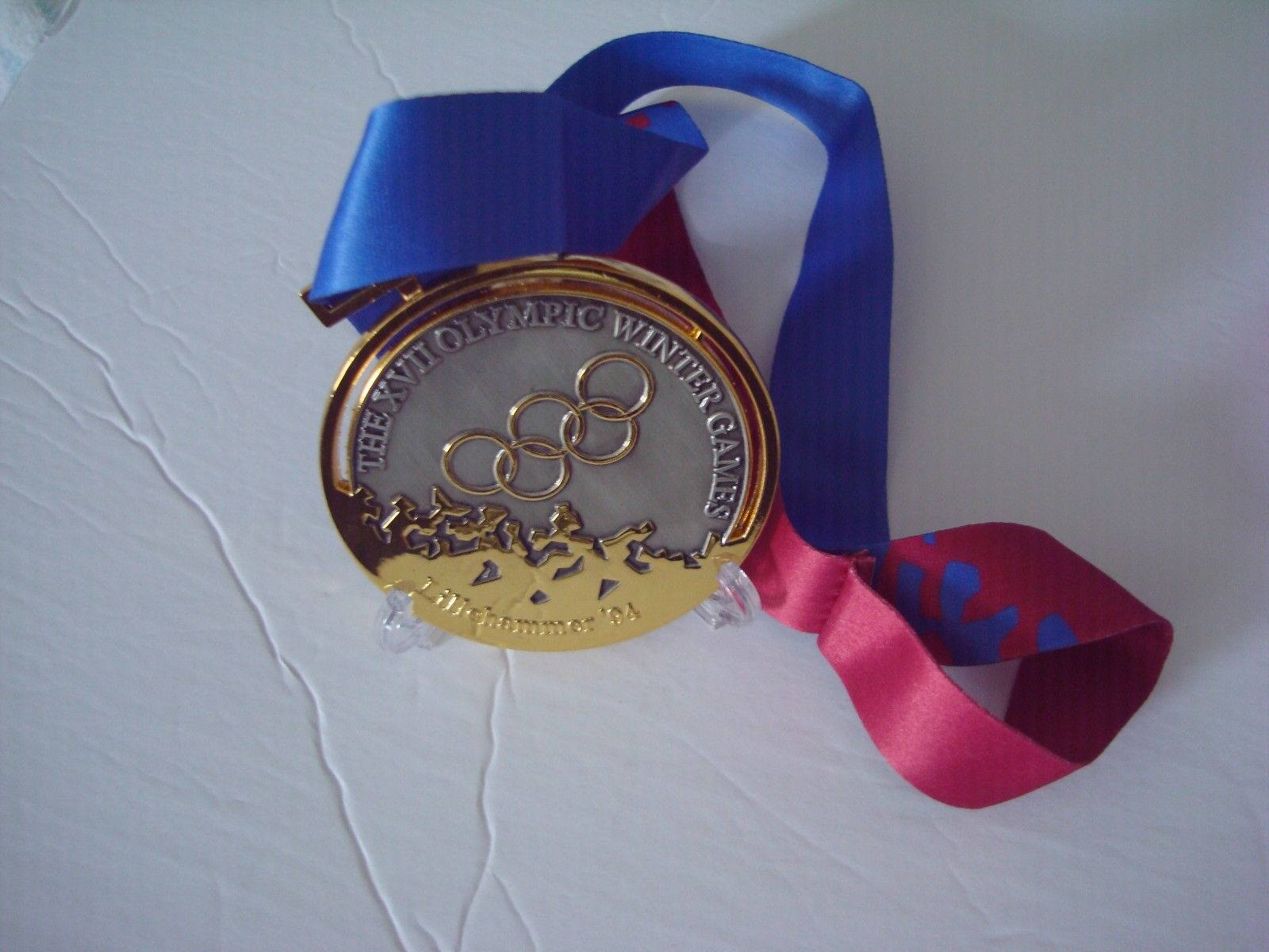 Lillehammer Norway Olympic Gold Medal With Silk