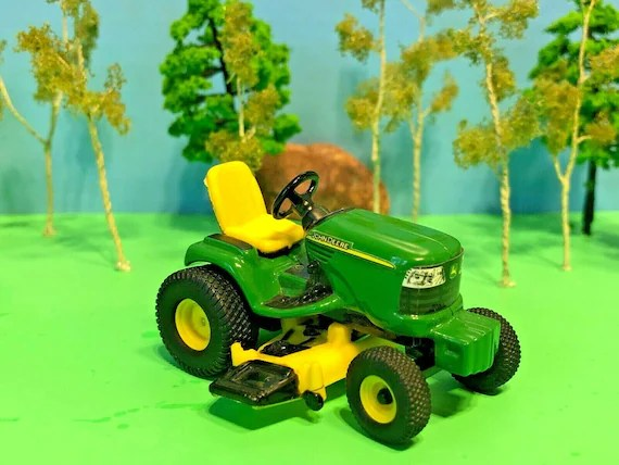 John Deere Riding Tractor With Lawn Mower Grass Cutting Etsy