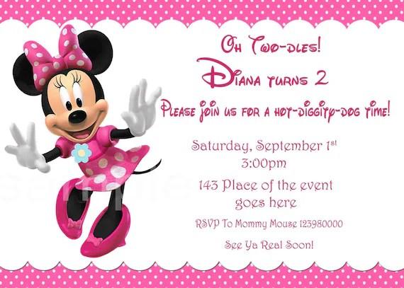 invitation de minnie mouse invitation d anniversaire minnie mouse parti de minnie mouse avec ou sans photo mise en page numerique impression