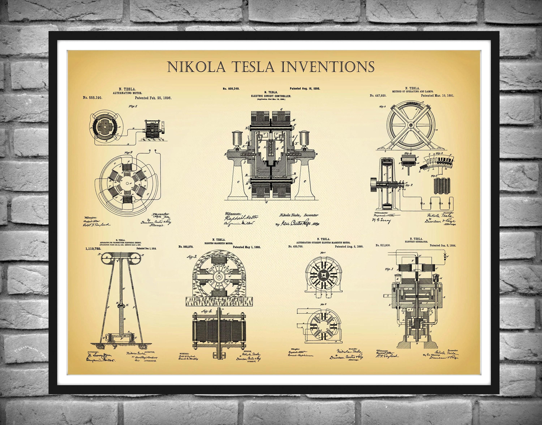 nikola tesla patent drucke 7 tesla erfindungen poster tesla elektrische komponenten kunst elon musk elektroauto poster elektriker geschenk