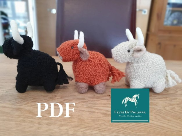 PDF Pattern File for Henry Highland Cow Needle Felted image 0