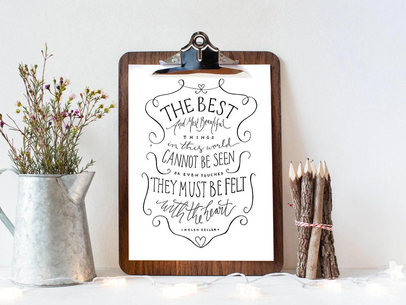 Helen Keller Quote Art Print Felt With The Heart