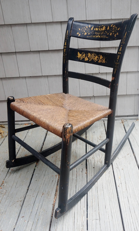 Vintage New England Hitchcock Black Child Rocking Chair