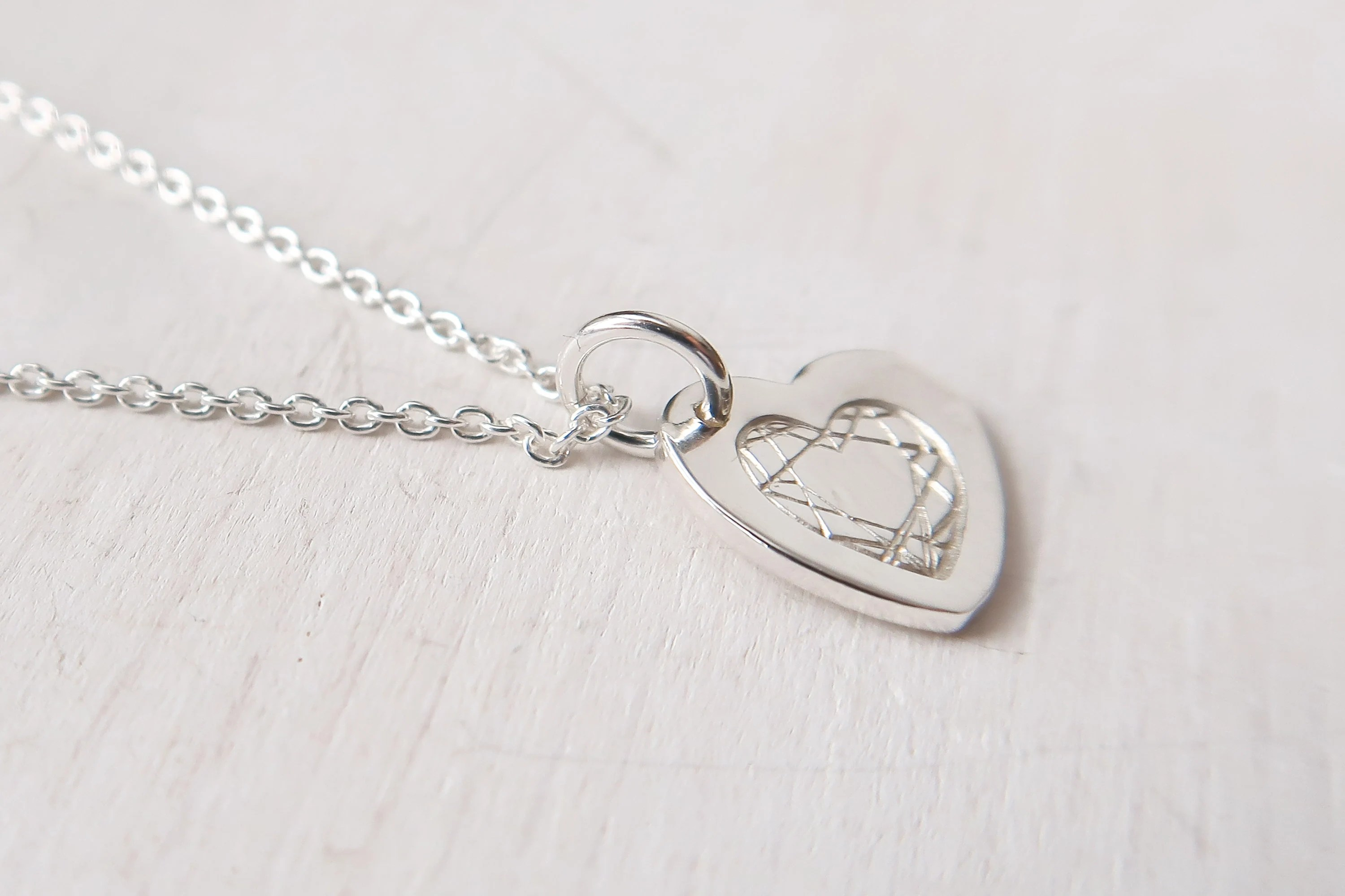 Small And Chunky Heart Necklace Sterling Silver T For Her