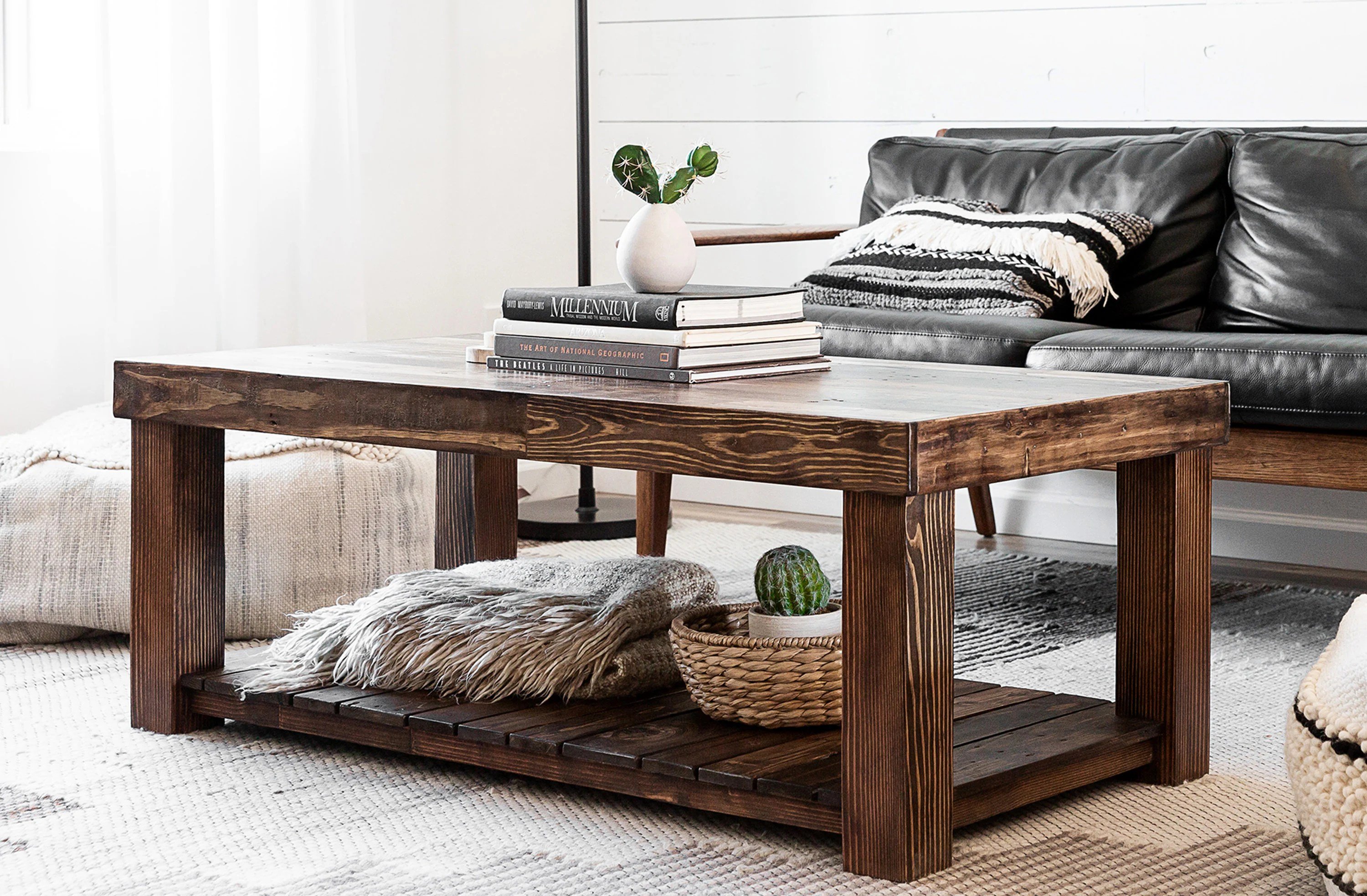 reclaimed wood coffee table rustic vintage modern accent living room furniture rectangle large custom recycled beach house cabin custom loft