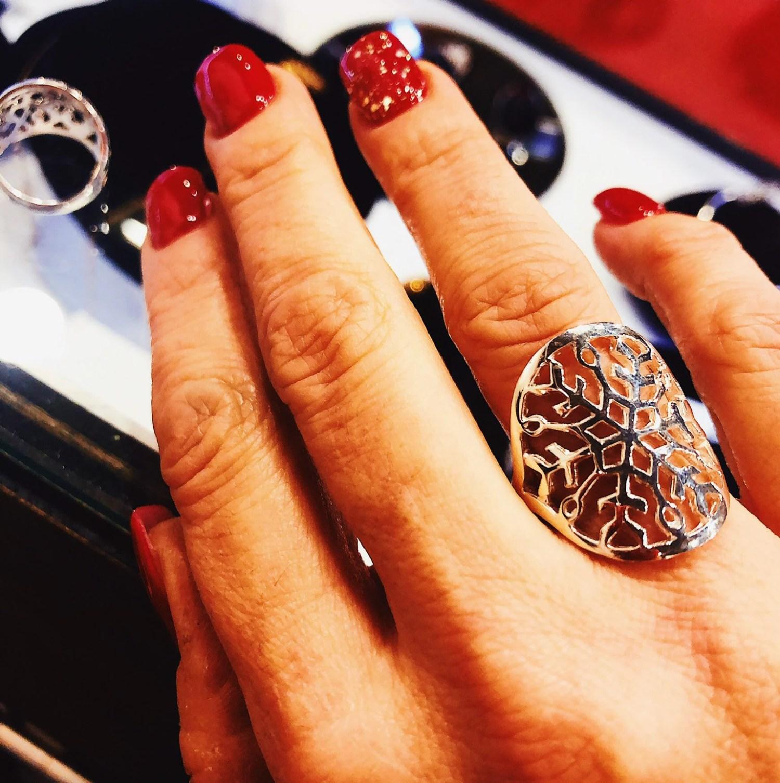 Bague argent, flocon de neige, snowflake, canadian ring, silver ring, bijou d hiver, froid