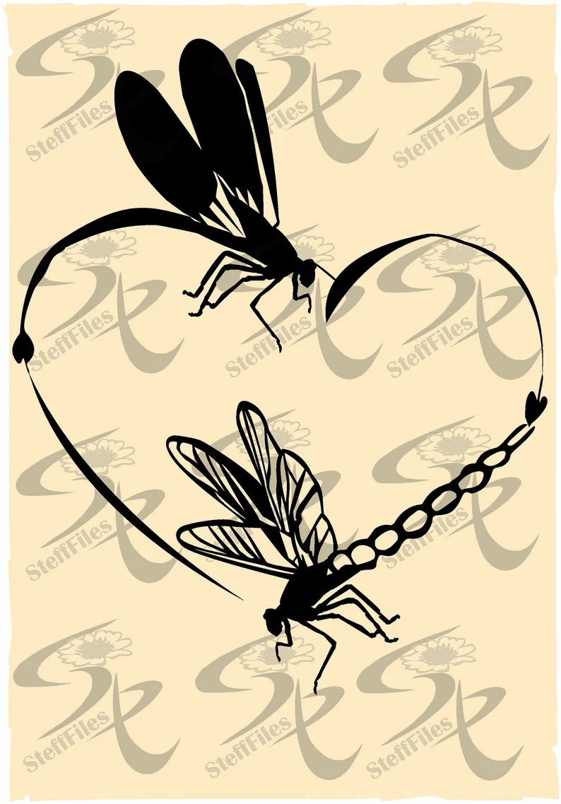 Download Vector Dragonfly Love heart clipart | Etsy