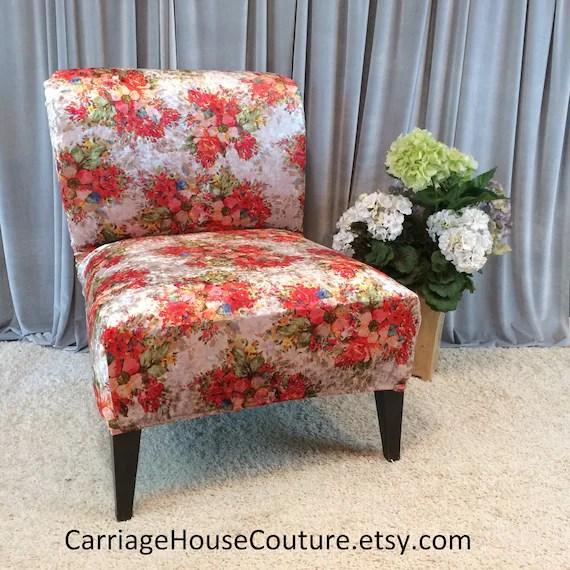 housse de chaise extensible corail velours fleuri housse pour chaise sans bras chaise slipper accent chaise chaise parsons