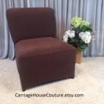 Slipcover Brown Suede Stretch Chair Cover For Armless Chair Slipper Chair Armless Accent Chair Parsons Chair Side Chair