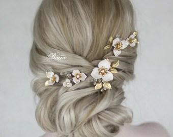 bridal hair pins set of 5 wedding hair pin wedding flower hair pins bridal hair accessory wedding hairpiece gold leaf hair pin luna