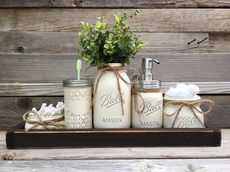 Rustic Bathroom Decor Farmhouse Bathroom Decor Mason Jar ... on Rustic Farmhouse Bathroom  id=91387