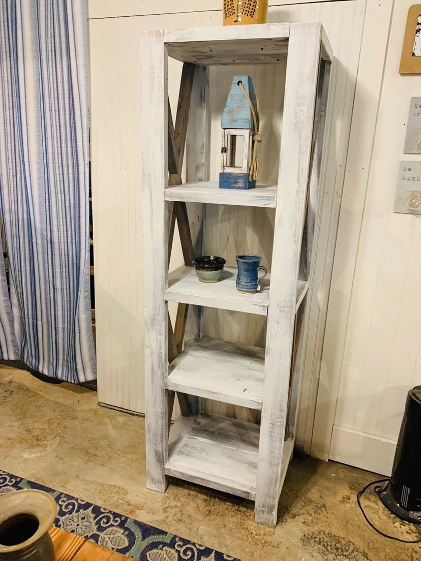 Rustic Farmhouse Style Bookshelf With A Distressed Antique