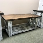 Farmhouse Living Room Set End Tables Set And Coffee Table With Distressed White Base And Dark Walnut Top Rustic Living Room Furniture X