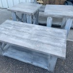 Farmhouse Living Room Set End Tables Set And Coffee Table With Distressed White Base Gray White Wash Top Rustic Living Room Furniture X