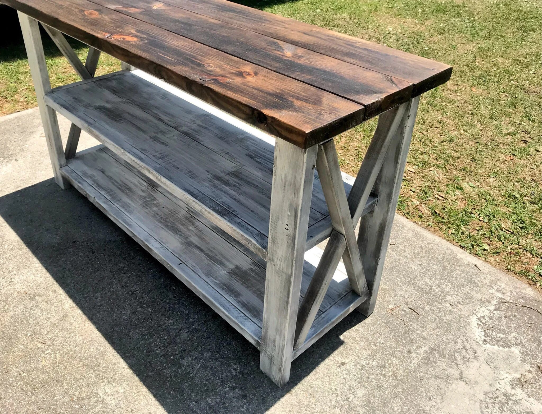 Rustic Wooden Buffet Table Rustic Console Table Farmhouse Buffet Table White Wash With White Distressed Base And Dark Walnut Top