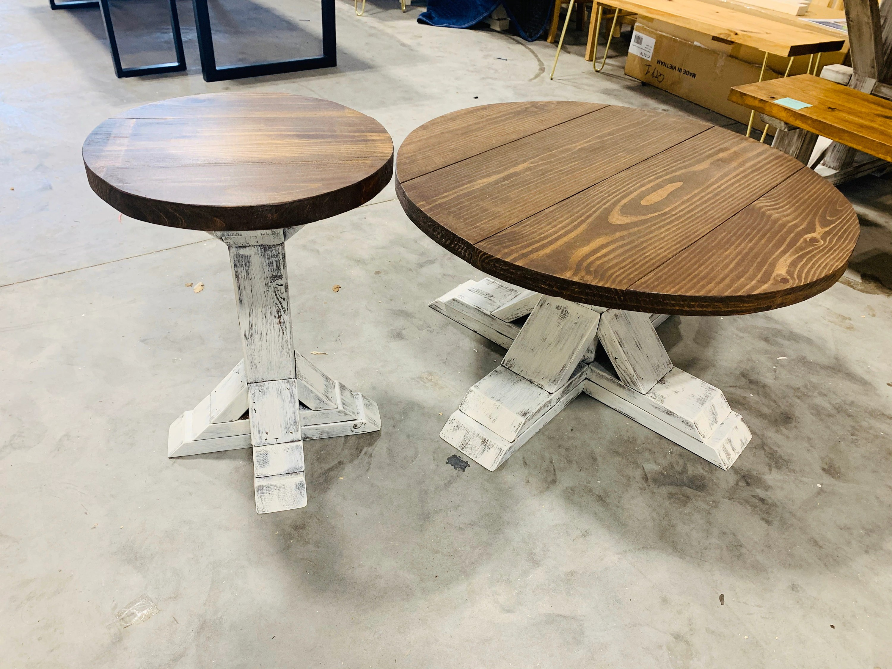 round farmhouse rustic coffee table and