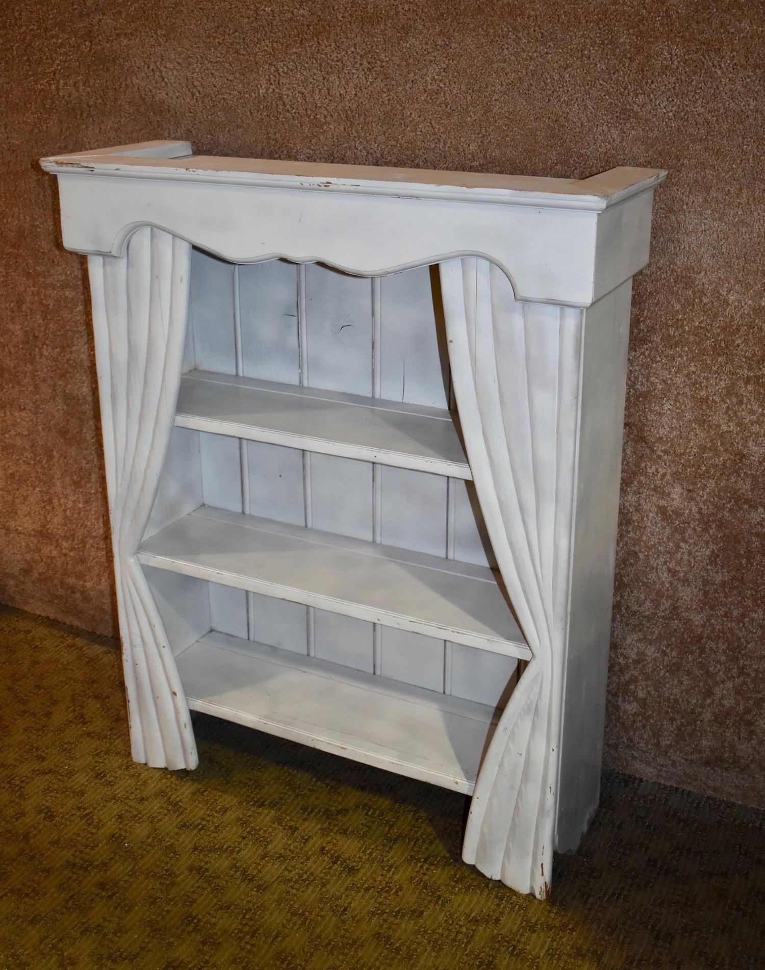 Cottage Chic Small Distressed Bookcase W Drape Design