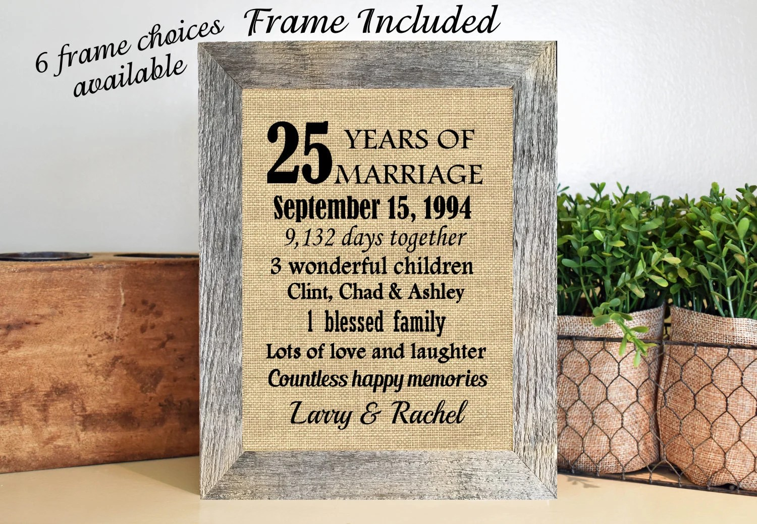 FRAMED 25th Anniversary Gift/25th Wedding Anniversary