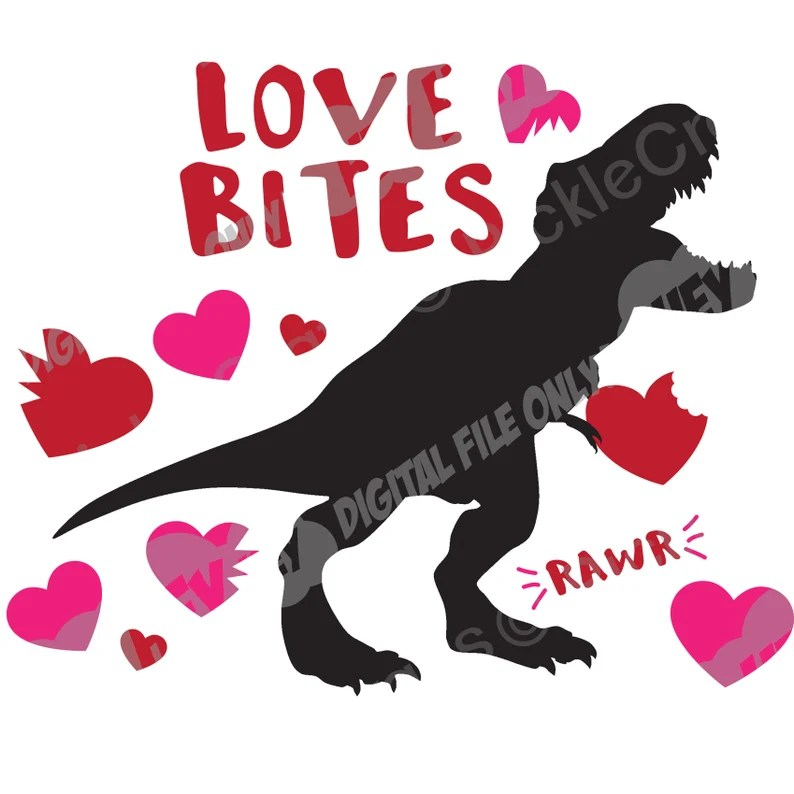 Download Love Bites TRex Dinosaur Valentine's Day Funny Cute SVG   Etsy