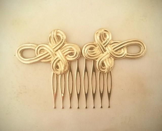 celtic knot hair comb gold rope hair comb wedding hair bridal hair wedding accessories celtic hair celtic wedding