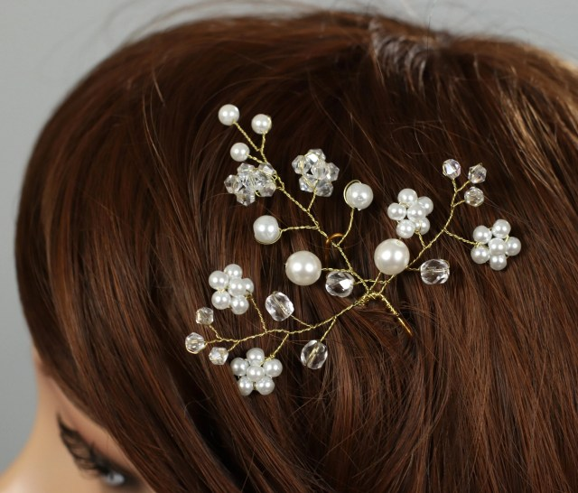 wedding hair pins, floral bridal hair pin, bridal hair pins, flower hair pins, bridal hair accessory, crystal glass pins, pearls hair pins
